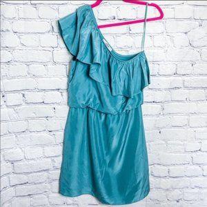 Anthropologie Tibi Silk One Shoulder Ruffle Dress